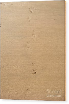Footprints In The Sand Wood Print by Pixel  Chimp