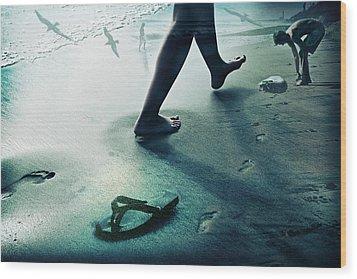 Footprints Wood Print by James David Phenicie