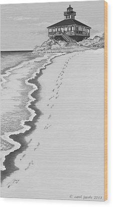 Wood Print featuring the digital art Footprints On Boca Beach by Carol Jacobs
