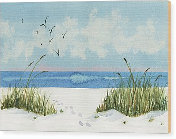 Wood Print featuring the painting Footprints On The Beach by Nan Wright