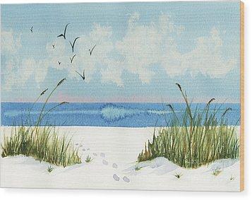 Footprints On The Beach Wood Print by Nan Wright