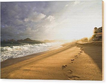 Wood Print featuring the photograph Footsteps In The Sand by Eti Reid