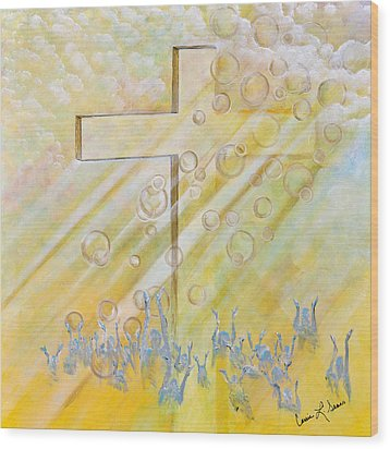 Wood Print featuring the painting For The Cross by Cassie Sears