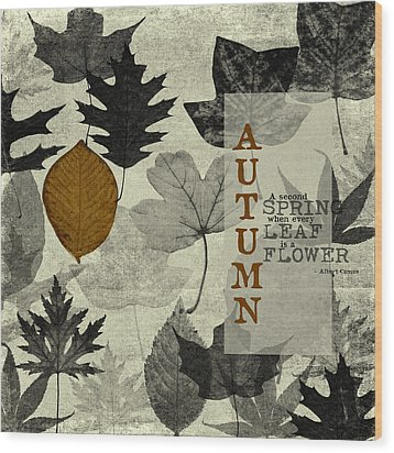 For The Love Of Autumnn Wood Print by Bonnie Bruno