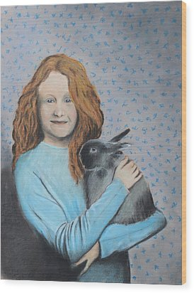 Wood Print featuring the painting For The Love Of Bunny by Jeanne Fischer