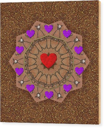 For The Love Of Hearts Wood Print by Pepita Selles