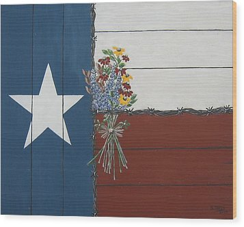 Wood Print featuring the painting For The Love Of Texas by Suzanne Theis