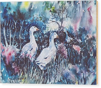 Wood Print featuring the painting Foraging Ducks  by Trudi Doyle