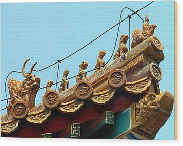 Wood Print featuring the photograph Forbidden City Roof Adornment by Kay Gilley