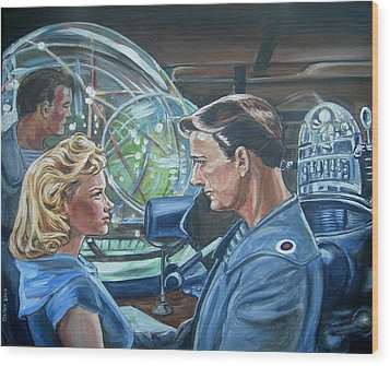 Wood Print featuring the painting Forbidden Planet by Bryan Bustard
