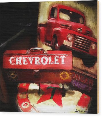 Ford Chevrolet Wood Print by Robert Smith