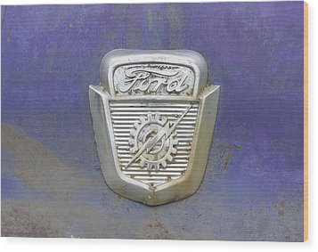 Ford Emblem Wood Print by Laurie Perry