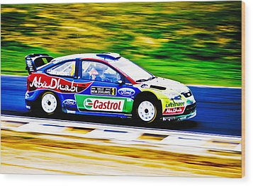 Ford Focus Wrc Wood Print by motography aka Phil Clark