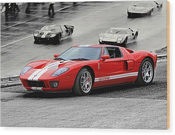Ford Gt And Gt40 1966 Le Mans Win Wood Print by Christopher McKenzie