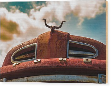 Wood Print featuring the photograph Ford Hood Ornament by Bartz Johnson