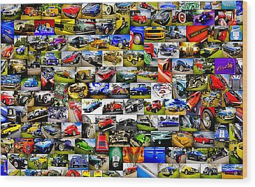Ford Hot Rod Collage Wood Print by motography aka Phil Clark