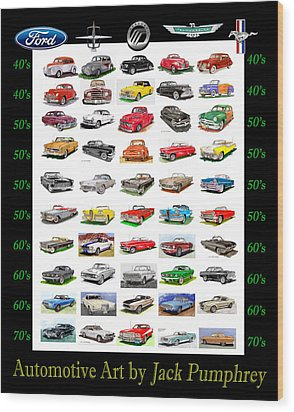 Four Decades Of Fords Poster Wood Print