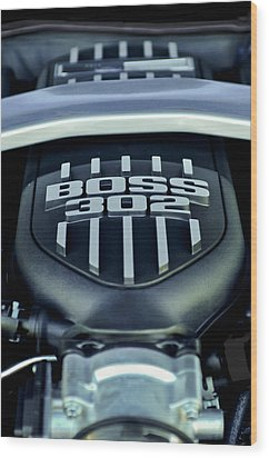 Ford Mustang Boss 302 Engine Wood Print by Jill Reger