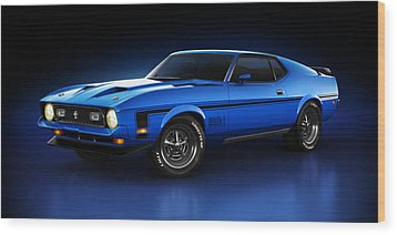 Wood Print featuring the digital art Ford Mustang Mach 1 - Slipstream by Marc Orphanos