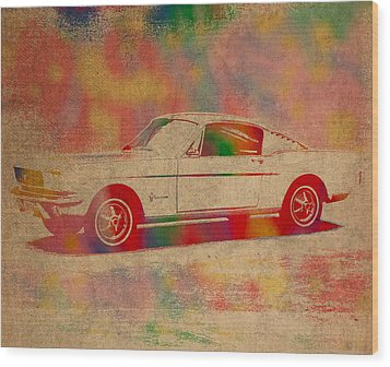 Ford Mustang Watercolor Portrait On Worn Distressed Canvas Wood Print by Design Turnpike
