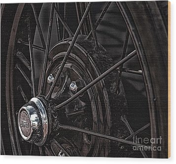 Ford Spoke Wheel Wood Print by JRP Photography