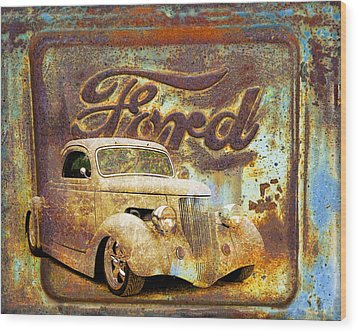 Ford Coupe Rust Wood Print by Steve McKinzie