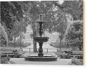 Fordham University Fountain Wood Print by University Icons