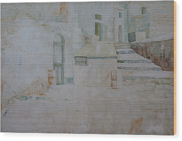 Wood Print featuring the painting Forenza Vita - Salita Trappeto by Giovanni Caputo