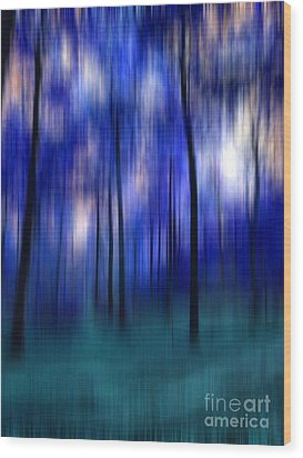 Forest Abstract 2 Wood Print by Angela Bruno