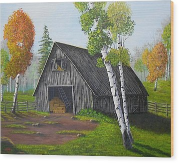 Wood Print featuring the painting Forest Barn by Sheri Keith