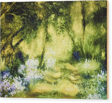 Forest Bluebells Wood Print