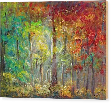 Wood Print featuring the painting Forest by Bozena Zajaczkowska