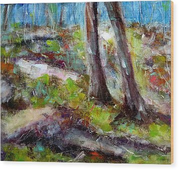 Wood Print featuring the painting Forest Carpet by Katie Black