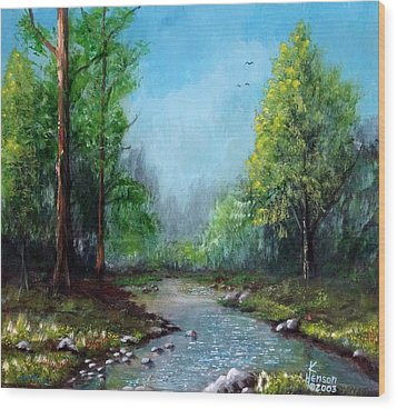 Wood Print featuring the mixed media Forest Creek by Kenny Henson