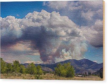 Forest Fire South Of Twisp Wood Print by Omaste Witkowski