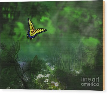 Forest Glade Butterfly Background Wood Print