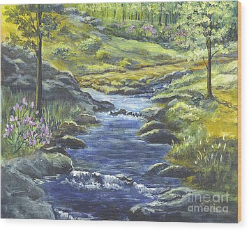 Wood Print featuring the painting Forest Glen Brook by Carol Wisniewski