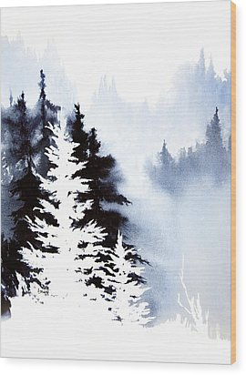 Forest Indigo Wood Print by Teresa Ascone