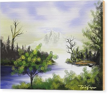 Forest Lake Wood Print by Twinfinger
