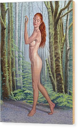 Forest Nymph Wood Print by Paul Krapf