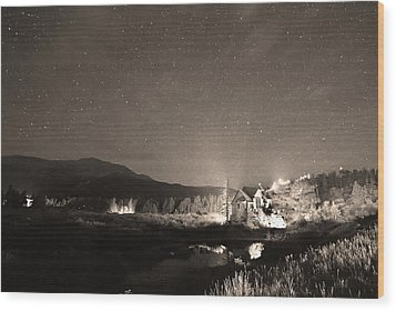 Forest Of Stars Above The Chapel On The Rock Sepia Wood Print by James BO  Insogna