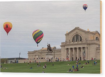 Forest Park Balloon Race Wood Print by Scott Rackers