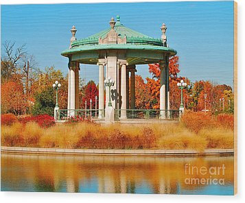 Wood Print featuring the photograph Forest Park Gazebo by Peggy Franz