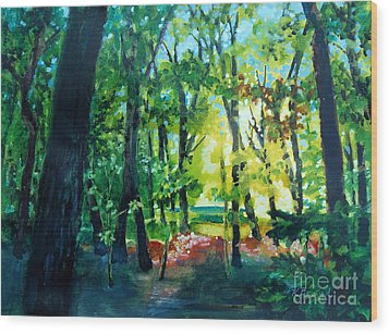 Wood Print featuring the painting Forest Scene 1 by Kathy Braud