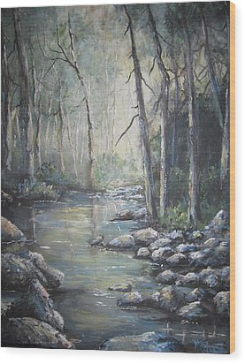 Forest Stream Wood Print by Megan Walsh