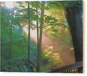 Forest Sunbeam Wood Print