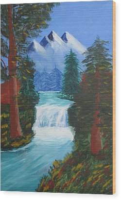 Forest Waterfall Wood Print by Haleema Nuredeen