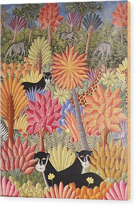 Wood Print featuring the painting Forest With  Black Panthers by Haitian artist