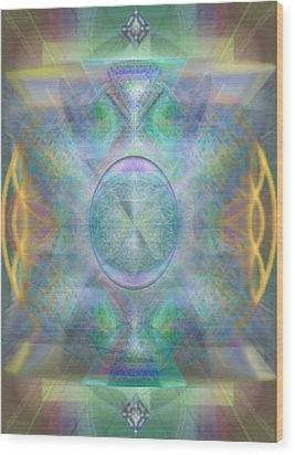 Wood Print featuring the digital art Forested Chalice In The Flower Of Life And Vortexes by Christopher Pringer