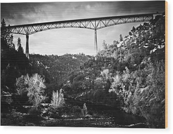 Foresthill Bridge In The Snow 2 Wood Print
